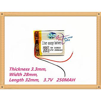 332832 3.7v 250mah Lithium Polymer Rechargeable Battery