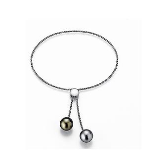 Pulsera Adriana Abalorios Tahití negro 9-10 mm gris plata 9-10 ajustable I30