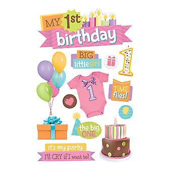 Paper House Productions - 3D Stickers - 1st Birthday- Girl