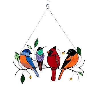 الأم & ق هدايا اليوم متعدد الألوان الطيور عاشق شنقا نافذة لوحة زخرفة