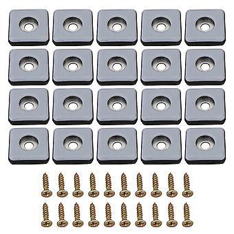 20x 2,5x2,5 cm gensprævelige stoleben Slides PTFE Firkantede puder med skruer