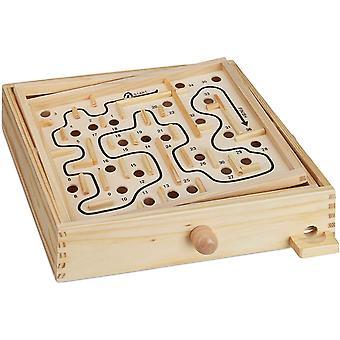 FengChun 10023502, Natur Holz Labyrinth Spiel, mit 2 Kugeln, Geschicklichkeitsspiel, Balancespiel,