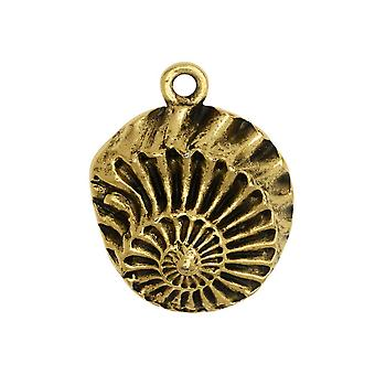 Pendentif en métal, Nautilus Shell 21x28mm, Or antique, 1 pièce, par Nunn Design