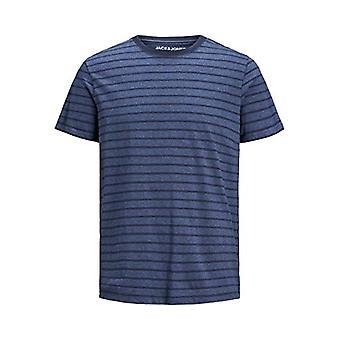 JACK & JONES JJESTRIPED Tee SS Crew Neck STS T-Shirt, Denim Blue, S Men's