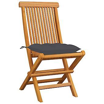 vidaXL sillas de jardín con cojín de antracita 4 piezas. teca de madera maciza