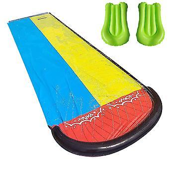 Children Double Surf Water Slide, Outdoor Garden Racing Lawn, Spray Summer,