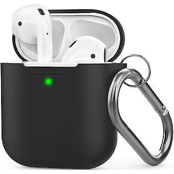 Μαύρη περίπτωση σιλικόνης airpods με το συμβατό με πόρπη μήλο 2 &1 dt6767
