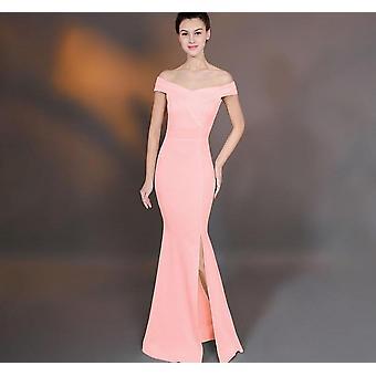 Vrouwen lange vloer-lengte van de schouder met split prom bruiloft feestjurk (