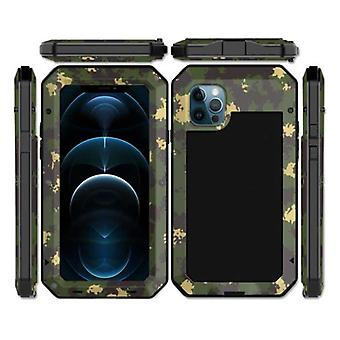 R-JUST iPhone 12 Pro Max 360 ° Full Body Case Tank Cover + Screen Protector - Shockproof Cover Metal Camo