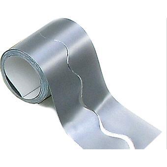 Metallic Silver 15m Scalloped Smooth Bordette Classroom Border Roll