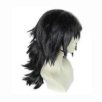 Демон истребитель аниме парики Томиока Giyuu Пушистые синтетические парики волос