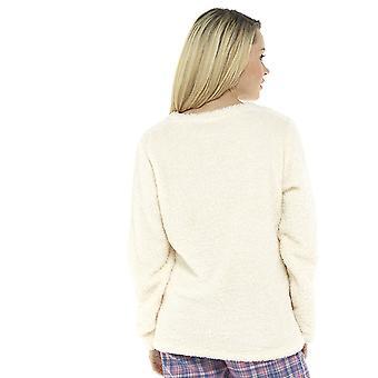 Naiset Kirjailtu Paljetti Slogan Design Fleece Loungwear Top Cream UK 16-18