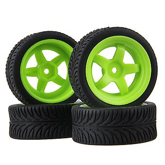 Remote control toy accessories 4pcs 5 spoke wheel rim leaf pattern rubber tyre for rc1:10 on-road car green