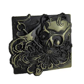 Revestimento de bronze de fivela de cinto 'Selvagem como o vento' crânio