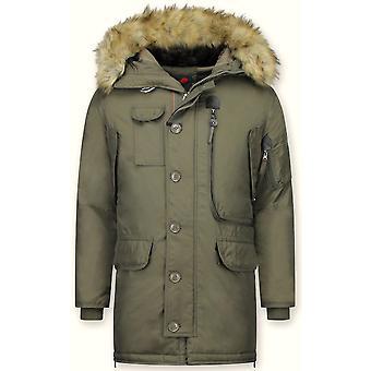 Parka Coat - With Fur Collar - Dark Green
