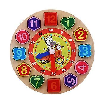 Montessori cartone animato animale educativo in legno perla geometria puzzle orologio per bambini 5+(Zebra