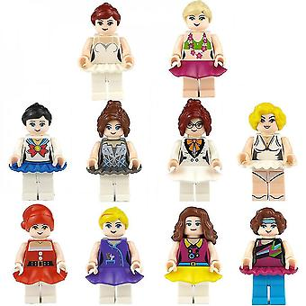 10pcs Girl Building Blocks, Small Figures, Small Particles, Assembling Dolls, Dolls, Toys