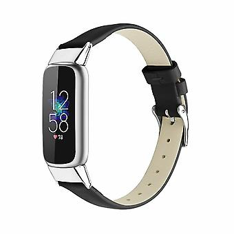 for Fitbit Luxe / Special Edition Band Strap Genuine Leather Replacement Wrist[Black]