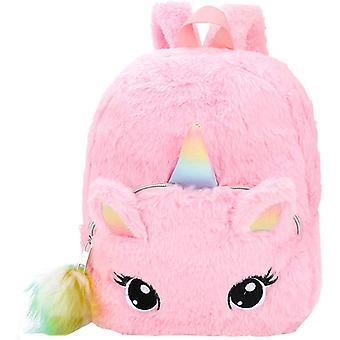 Plys Rygsæk, Børnehave Skoletaske, Cute Cartoon Girl Rygsæk, Børnehave Kid Rygsæk, Enhjørning Rygsæk, Pink