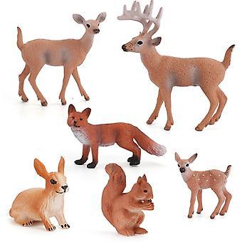 6 Pieces/pack Of Moose + Fox + Rabbit + Squirrel Animal Figurines Fairy Garden Miniature Decorations