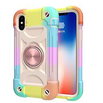 Sopii Iphone X / xs / 5.8 Matkapuhelimen kuori, Kontrastiväri pyörivä kiinnike kuori, kaksinkertainen rengas all-inclusive suojakansi (värikäs)