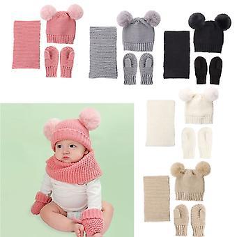 Hat Scarf Gloves Set Beanie Cap Children Boys Girls Caps Fake Ball Pompon Keep Warm Winter Knitted Hat Mittens