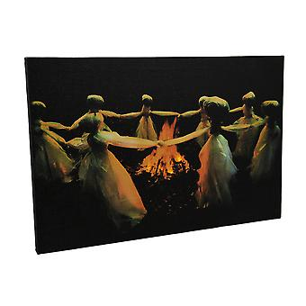Spiritual Gathering LED Lighted Ghost Circle Canvas Print