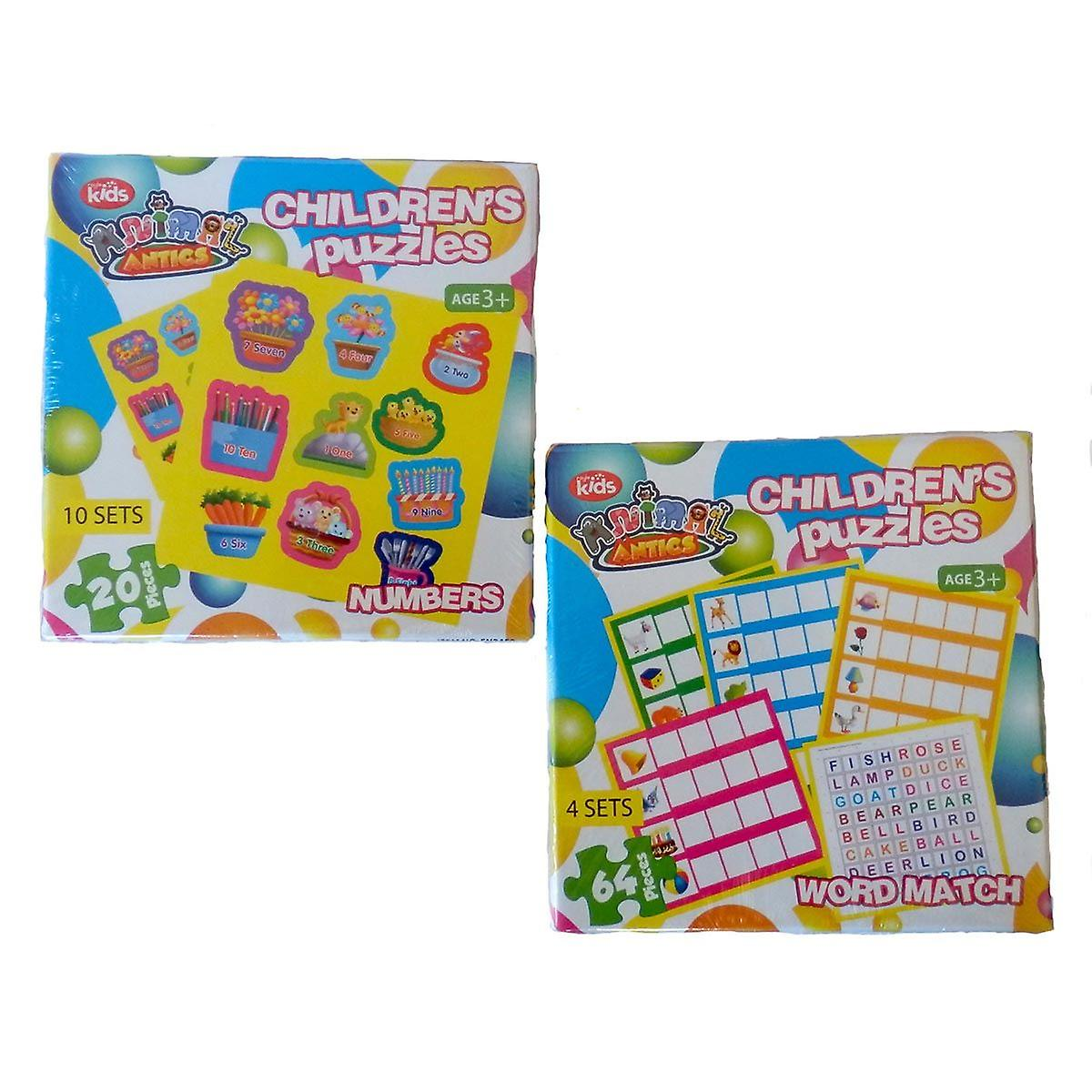 Animal Antics 2 Childrens Puzzles Word Match and Numbers