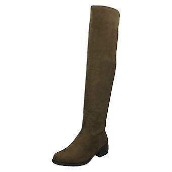 Ladies Spot On Mid Heel Over The Knee Boots F50862