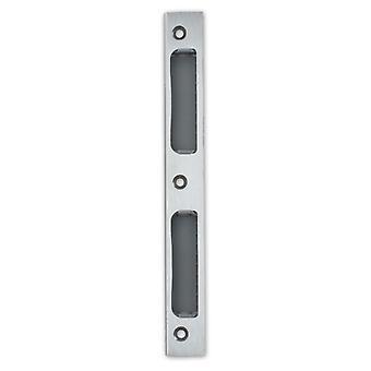 Premium M4TEC ZB8 polerad lackerad mässing Strike låsa dörren plattan – vinklad med plastinsats - robust, tålig & lätt att installera – DIN R/L – lämplig för singel-Turn interiör & WC/badrum lås