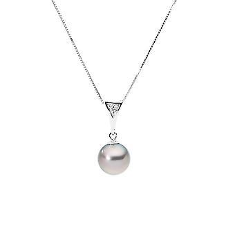 タヒチアン パールのペンダント、ダイヤモンド ネックレス ゴールド白 375/1000
