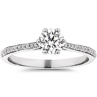 Eco-Friendly 5 / 8ct Lab erstellt Diamant-Verlobungsring 14K White Gold