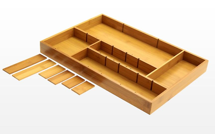 Woodquail Bamboo Adjustable Drawer Inserts Organiser Kitchen Cutlery Flatware Tray, Junk Tray