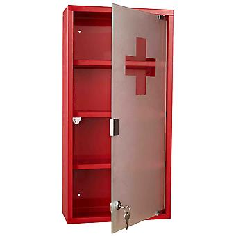HOMCOM Red Steel wall mounted Medicine Cabinet with 3 shelves + Security Glass Door Lockable 60 cm(H)