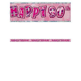 Bannière anniversaire Glitz rose 90thanniversaire prisme