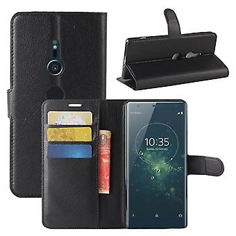 Tasche Wallet Premium Schwarz für Sony Xperia XZ2 Schutz Hülle Case Cover Etui Neu