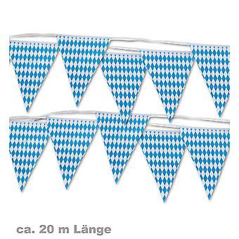 Banderín guirnalda azul blanco bávaro Oktoberfest 20 m