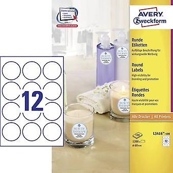 Avery-Zweckform L3416-100 Labels Ø 60 mm Paper White 1200 pc(s) Permanent All-purpose labels, Sticky dots Inkjet, Laser, Copier 100 Sheet A4
