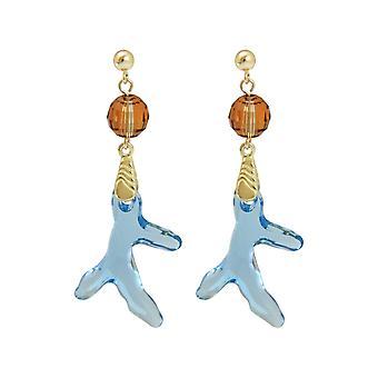 Gemshine øreringe forgyldt koral blå lavet med SWAROVSKI ELEMENTS®