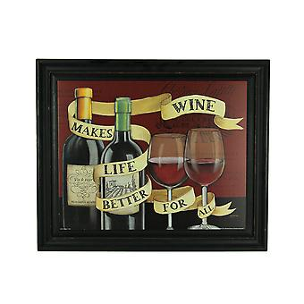 Wine Makes Life Better For All Vintage Look Wood Panel Painting