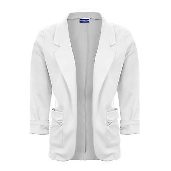 Womens Open Front Turn Up Cuffs Ruched Pocket Blazer Ladies Jacket