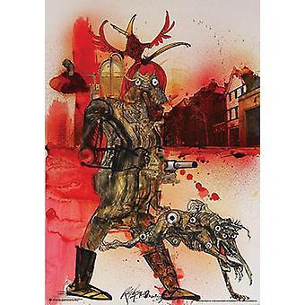 Infierno de cartel de Ralph Steadman sabueso Fahrenheit 451