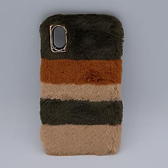 soft fluffy-mixed colors-Brown-case for iPhone XS max