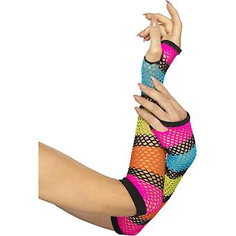 Smiffy's Fishnet Gloves, Long, Neon, With Black Stripe