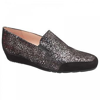 Perlato Shimmering Suede Slip On Moccasin Shoe
