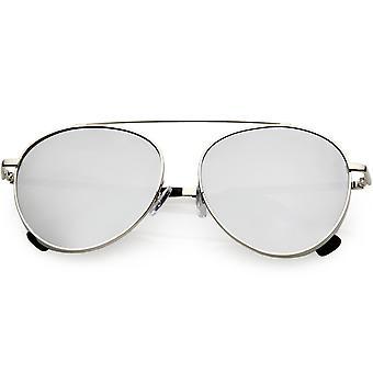 Oversize Round Aviator Sunglasses Metal Brow Bar Colored Mirror Lens 60mm