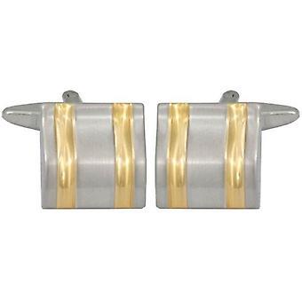 David Van Hagen Curved Lines Cufflinks - Gold/Silver