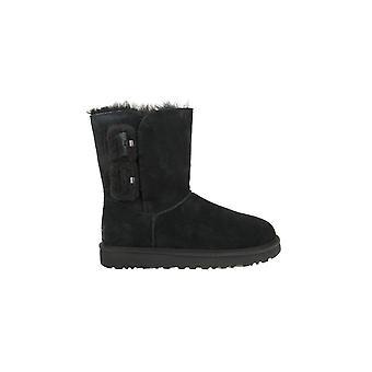 Calçados femininos inverno universal UGG Mini Bailey Fluff fivela de 1104183BLK