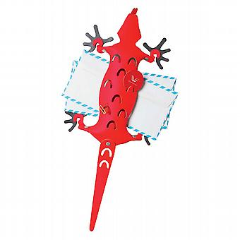 Red Leather Amigos Lizard Memo Holder & Magnetic Feet
