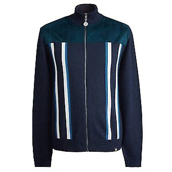 PRETTY GREEN Navy Zip Through Knitted Sweat